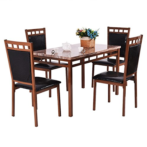Brown 5 PCS Dining Set With 4 Armless PU Leather Cushion Chairs Faux Marble Table Top Dinning Room Kitchen Home Décor Furniture Breakfast Lunch Dinner Restaurant Coffee Shop Marbling Surface (Wicker Outdoor Furniture Clearance Brisbane)