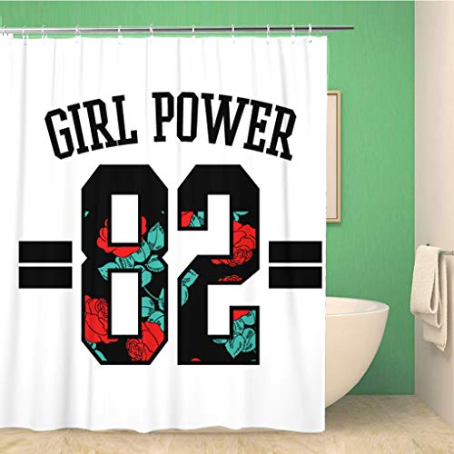 (Awowee Bathroom Shower Curtain Red Girl Power Text Number and Rose Flowers Varsity 72x72 inches Waterproof Bath Curtain Set with Hooks)