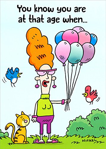 Woman Holding Helium Balloons Funny Birthday Card For Her Women