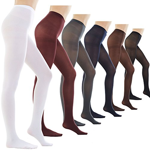 STYLEGAGA Women's 80 Denier Semi Opaque Solid Color Footed Pantyhose Tights 2Pair or 6Pair (M/L, 6PAIR - Black/Darknavy/Darkgray/Brown/Maroon/White) by STYLEGAGA