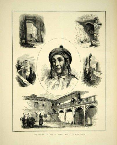 1872 Wood Engraving Art Gypsy Life Granada Spain Europe Victorian Era Peasant - Original In-Text Wood Engraving (Europe Victorian)