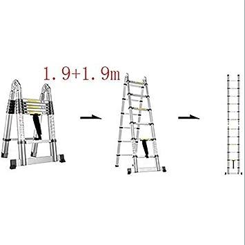ZGQA de tijera Escalera, multi-función escalera plegable de aluminio, escalera telescópica portátil, bricolaje escalera extensible, Capacidad de carga 150 kg (Color : 1.9+1.9m): Amazon.es: Bricolaje y herramientas