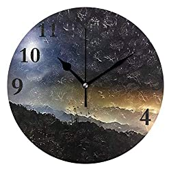 Dozili Starry Night Twinkle Round Wall Clock Arabic Numerals Design Non Ticking Wall Clock Large for Bedrooms,Living Room,Bathroom