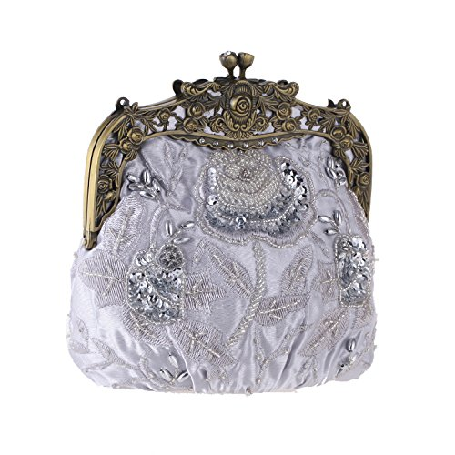 Vintage Bag Beaded Clutch Silver Embroidered Banquet Bag Ladies Handbag Bag Bridal Bag Fashion Silk Evening Cheongsam Chain Dinner vqwEn41