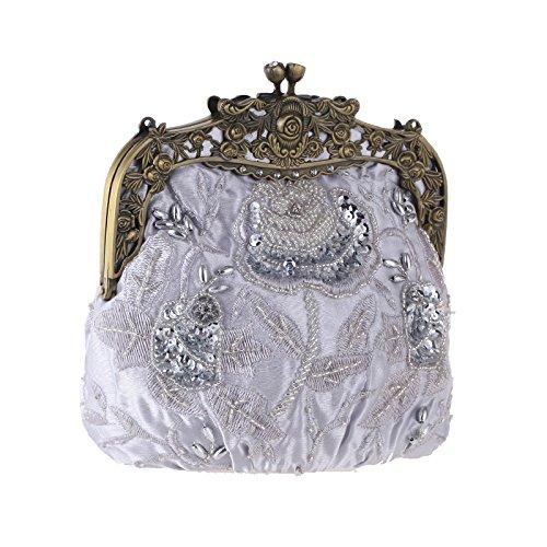 Bag Bag Silk Embroidered Vintage Chain Handbag Dinner Silver Cheongsam Bridal Ladies Clutch Banquet Beaded Bag Fashion Bag Evening OUfg8