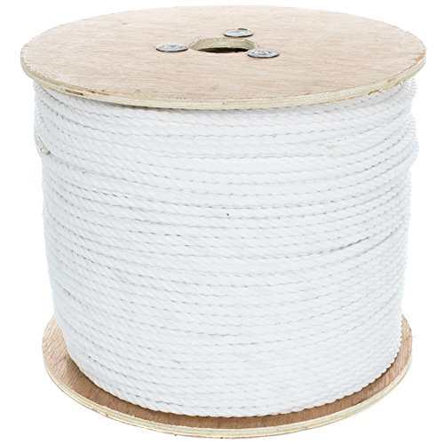 West Coast Paracord Twisted 3 Strand Polypropylene Rope (White, 3/4 Inch, 100 Feet) - Waterproof and Floats in Water ()