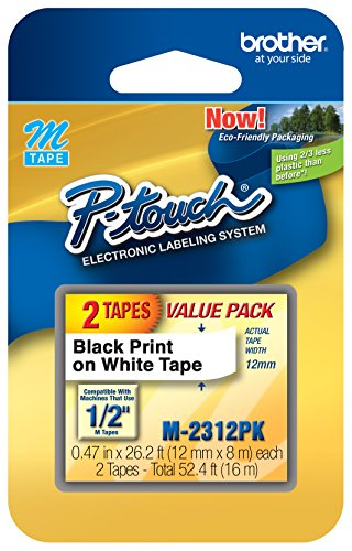 (Brother Genuine P-Touch M-2312PK Tape, 2 Pack, 1/2