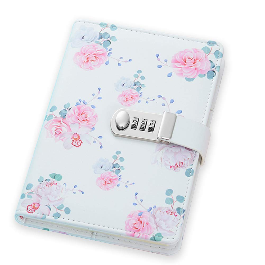 ToiM PU Leather Journal, A5 Secret Diary with Lock (Flowers)