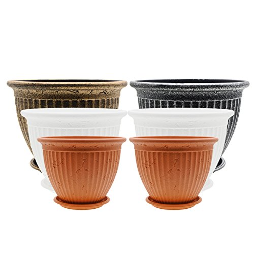 Saim Plastic Gardening Nursery Floral Plant Pots Seedlings Seed Starting Plants Container Planter Holders with Saucer for Potted Indoor Outdoor Garden Office, Multi-Size & Multi-Color, 6 Pcs