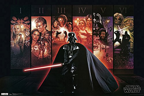 - 777 Tri-Seven Entertainment Star Wars Poster Darth Vader Episodes 1-6 Large Print (24x36)