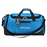 Duffle Bag Sports Gym Travel Luggage Including Shoes Compartment For Women and Men (Blue) For Sale