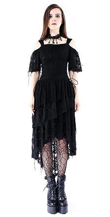 Darkinlove Robe Noire épaules Nues avec Lambeaux aadd43d4e4b