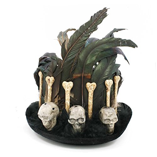 Top Hat with Voodoo Skulls, Bones, & Feathers (Voodoo Hat)