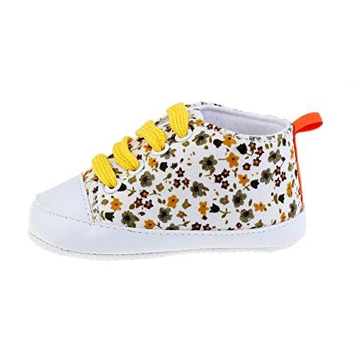 Zapatos de bebé Zapatos para bebé de cuatro estaciones Zapatos suaves para los primeros pasos Tamaño para 0-12 meses Luerme Amarillo
