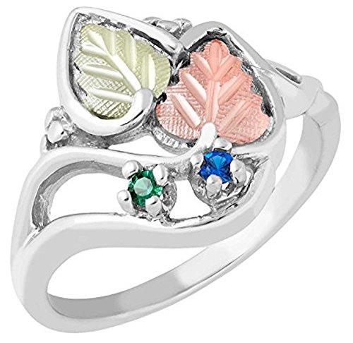 Black Hills Gold Mothers Ring (Black Hills Gold Silver Mother's Ring - 2 stones - MR930)