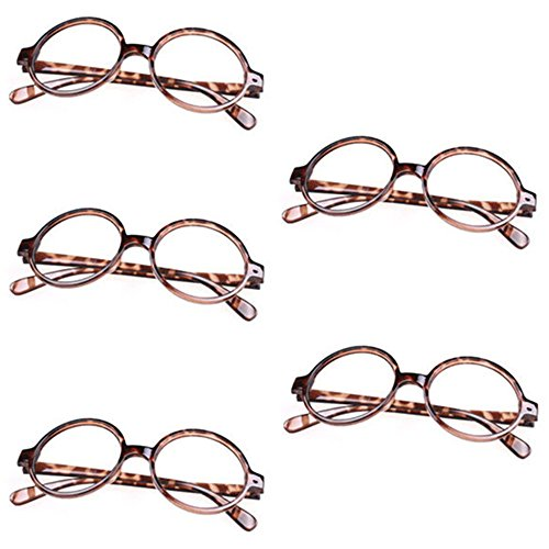 [5 X FancyG® Retro Geek Nerd Style Round Shape Glass Frame NO LENSES - Leopard] (Lovely Leopard Sexy Costumes)