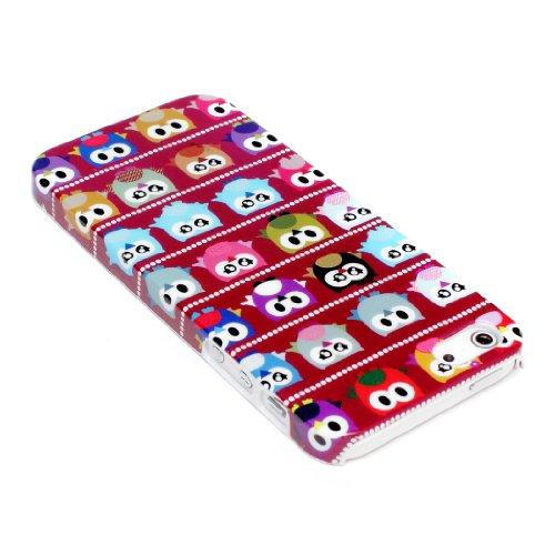 deinPhone Apple iPhone 5 5S HARDCASE Hülle Case Kleine Bunte Eulen Rot