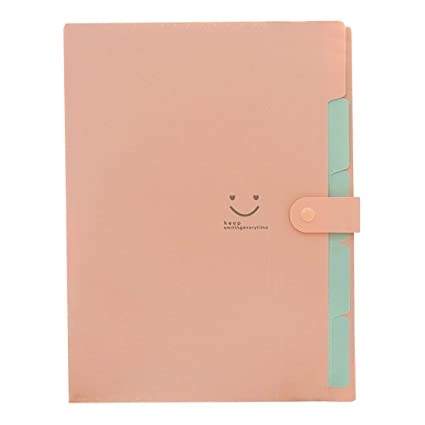 Amazon.com : SODIAL(R) Kawaii FoldersStationery Carpeta File Folder 5layers Archivadores Rings A4 Document Bag Office Carpetas£¨Pink£ : Office Products