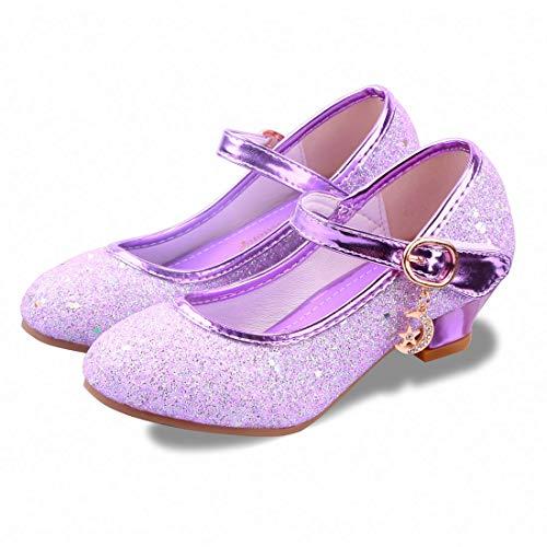 Kids Girls Flats Sparkle Party Mary Jane Princess Dress Shoes (11.5M US Little Kid, Purple)