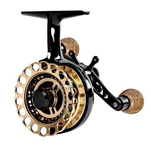 Fiblink Inline Ice Fishing Reel Right/Left Handed Fishing Raft Wheel Ice Reels (Gold, Right Handed)