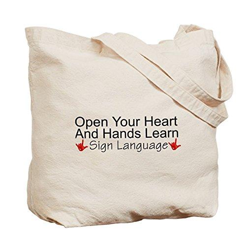 CafePress–Abre tu Corazón y manos Lea–Gamuza de bolsa de lona bolsa, bolsa de la compra