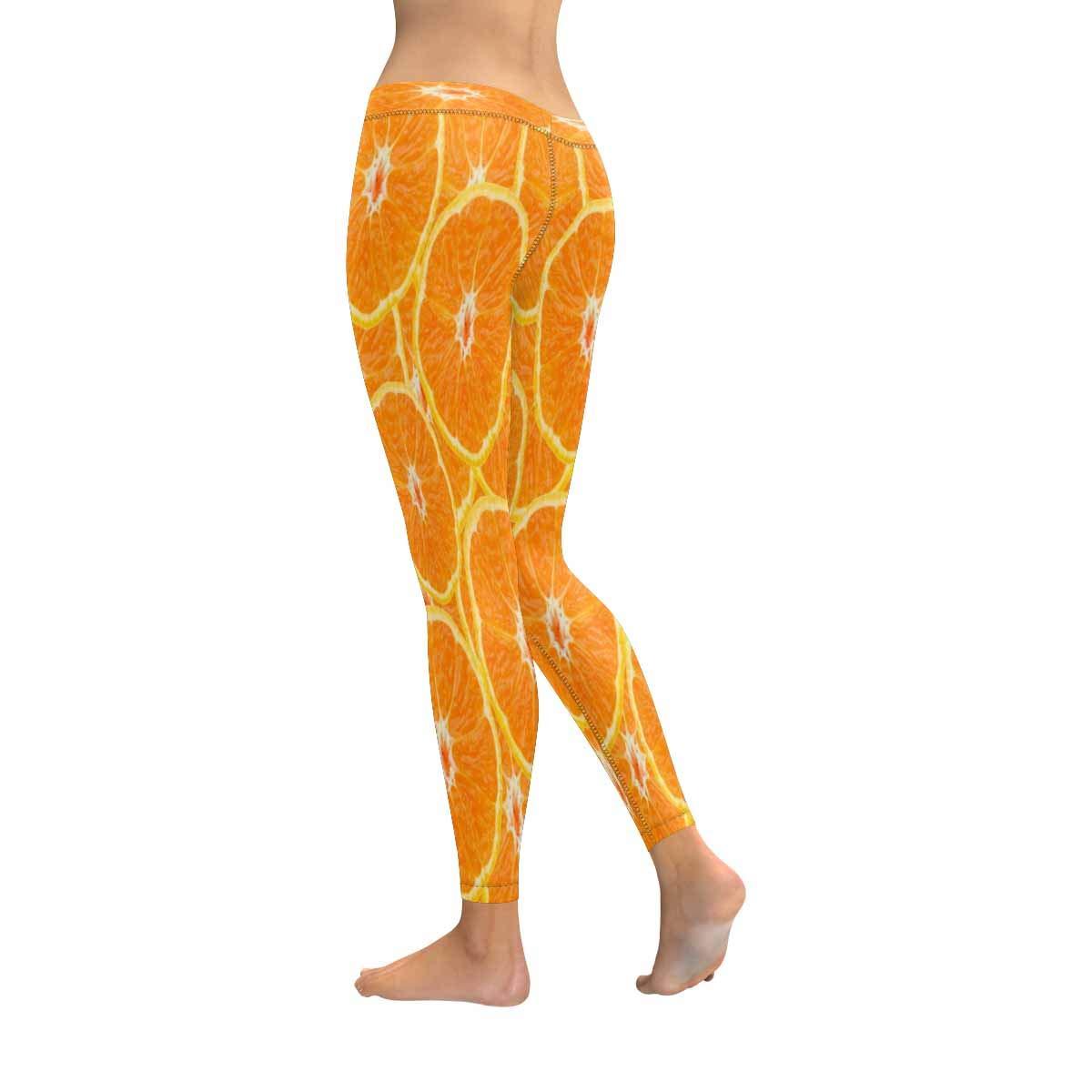 InterestPrint Womens Low Rise Leggings Orange Fruit Fashion Print Yoga Pants XXS-5XL