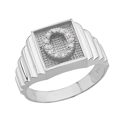 Men's 925 Sterling Silver Layered Band Square Face Diamond Initial Letter O Ring (Size 7) ()