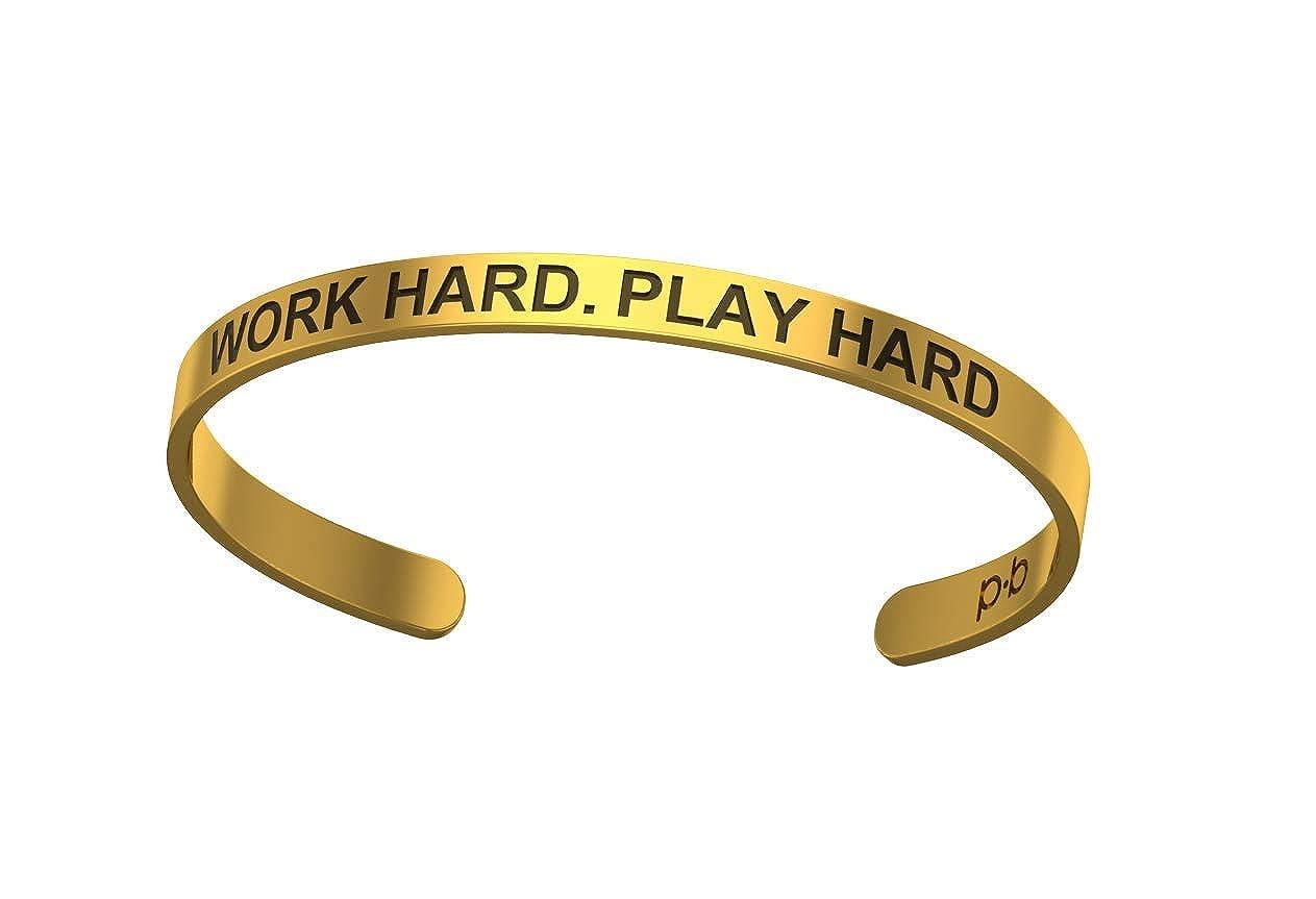 Pipa Bella Karma Bangle Bracelets Kada for Girls with Work Hard Play Hard Motivational Quote Fashion Jewelry for Women