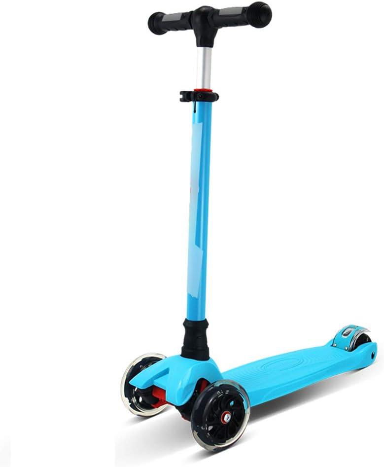 スケートボード キックスクーター子供のスクーター四輪フラッシュスクーターのベビー初心者のスクーター2-14歳の子供たちに適してマルチカラーオプション スケートボード (Color : 青) 青