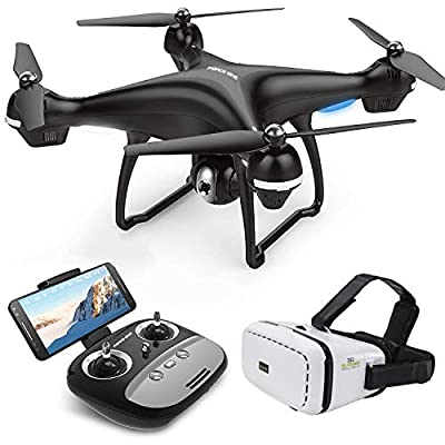 Quadcopter Drone with Camera Live Video, Force One S70VR WiFi FPV Quadcopter with 120° Wide-Angle 720P HD Camera RC Drone Altitude Hold, Follow Me, APP Control VR Glasses from QiYuanDa Tech