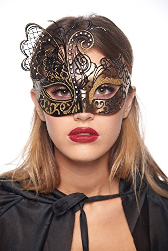 Premier Cleopatra Costumes (Cleopatra Masquerade Mask (Unisex; One Size Fits Most; Black/Gold))