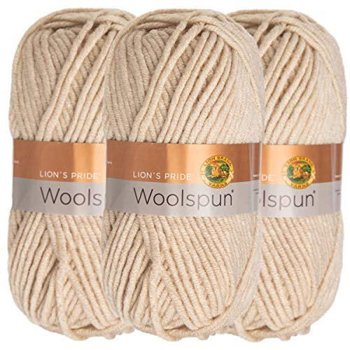 (Lion Brand (3 Pack) Woolspun Acrylic & Wool Soft Linen White Yarn for Knitting Crocheting Bulky)