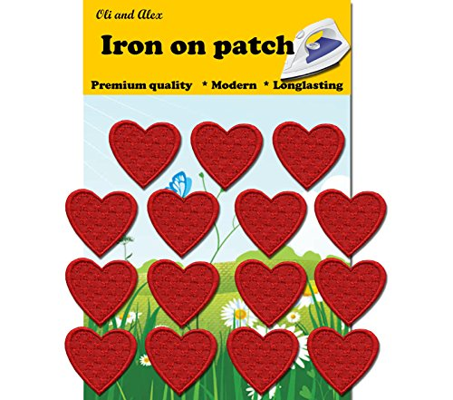 Iron On Patches - Red Heart Patch 15 pcs Iron On Patch Embroidered Applique1.29 x 1.22 inches (3.2 x 3.1 cm) A-158