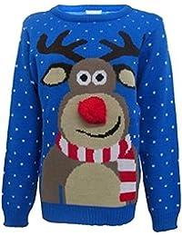 womens Unisex Rudolph Print 3d Nose Pom Pom Christmas Jumper