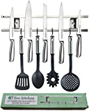 ECO KITCHEN 12 Inch Stainless Steel Magnetic Knife Holder - Magnetic Knife Strip Wall Mount With 4 Hooks - Knife Rack/Knife Bar for Kitchen Utensils and Cooking Sets - Save Your Space Now!
