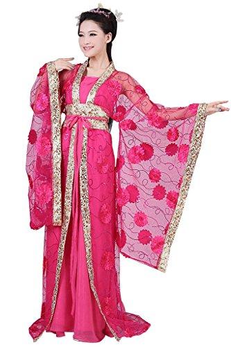 springcos Chinese Costume Fancy Dress Women Princess Dress Trailing Empress Rose for $<!--$34.98-->