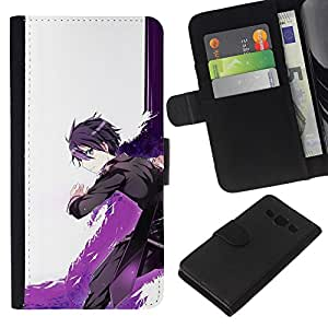 All Phone Most Case / Oferta Especial Cáscara Funda de cuero Monedero Cubierta de proteccion Caso / Wallet Case for Samsung Galaxy A3 // Cartoon Sword Warrior Purple