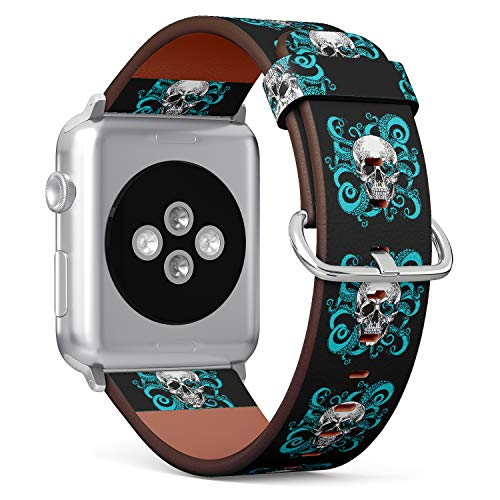 (Hand Drawn Vintage Style Skull and Tentacles of The Octopus) Patterned Leather Wristband Strap for Apple Watch Series 4/3/2/1 gen,Replacement for iWatch 42mm / 44mm Bands