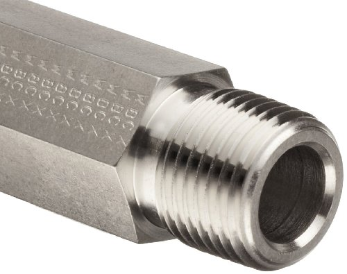 - Parker Stainless Steel 316 Pipe Fitting, Hex Long Nipple, 1/8