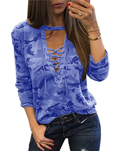 - Sexyshine Women's Camouflage Print Tops Bandage Deep V Low-Cut Lace-up Blouses Loose Long Sleeve T-Shirt(11877BE,L)