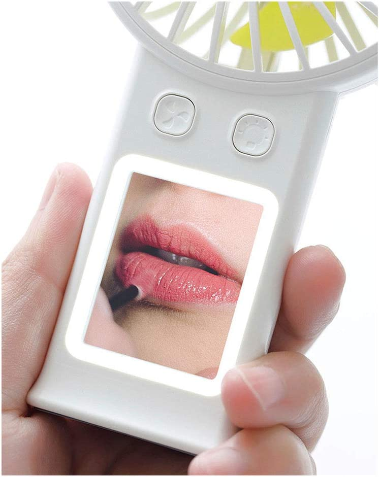 Mini USB Mirror Handheld Fan Aromatherapy Box LED Lights Rechargeable Silent for Home Office Travel