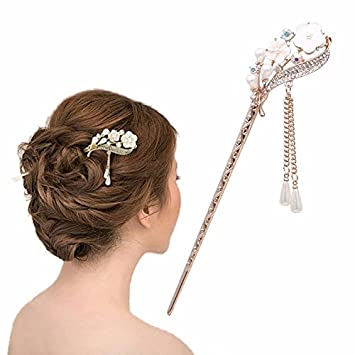 b28bedc27b08d Amazon.com : Vintage Chinese Women'sOrchid Flower and Crystal Hair ...