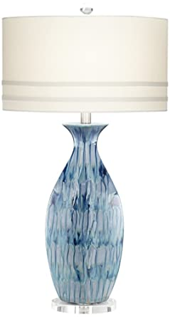 Attrayant Possini Euro Annette Blue Drip Ceramic Table Lamp