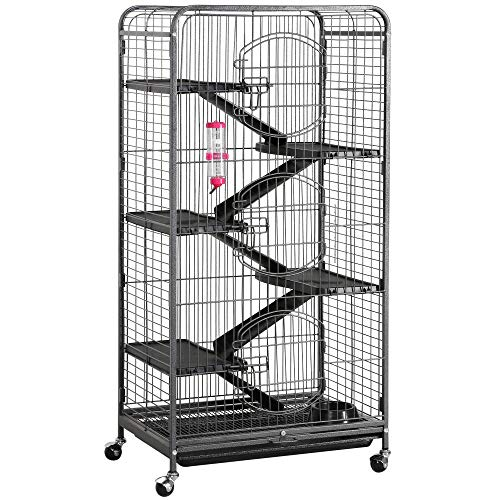 Yaheetech Multi Levels Rolling Large Ferret Cage – 52-inch Pet Chinchilla Bunny Squirrels Cage Small Animals Hutch w/ 3 Front Doors/Bowl/Water Bottle Black