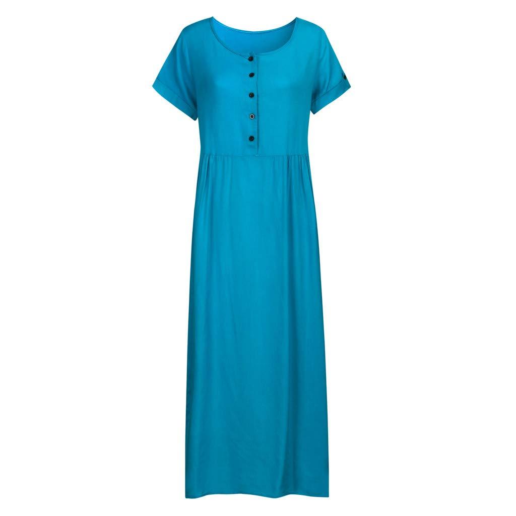Nuewofally Maxi Dress for Women Splice Button Dress Solid Cotton Long Dress Casual Puffy Swing Dress Wedding Party(Blue,S)