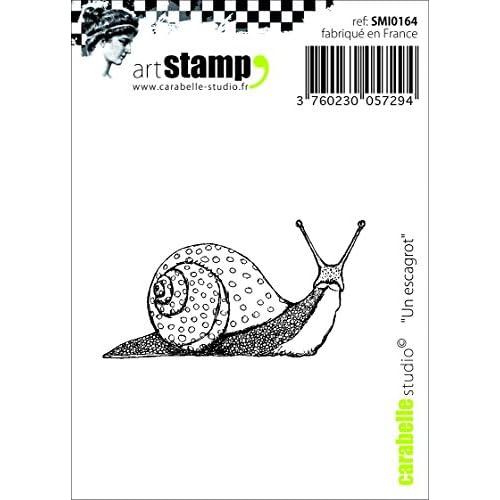 Carabelle Studio SMI0164 Tampon Mini Motif Snail Caoutchouc Blanc/Transparent 5 x 6 x 0,5 cm