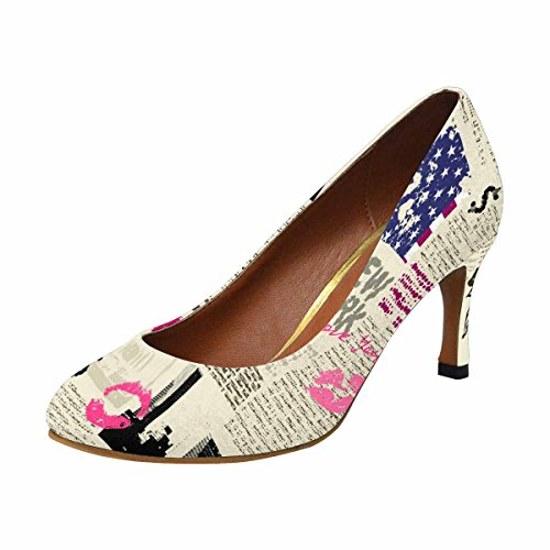 Pump York High Womens Fashion Heel New InterestPrint Sketch The Dress of Liberty Newspaper Classic of Statue With nzwtdHzqEY