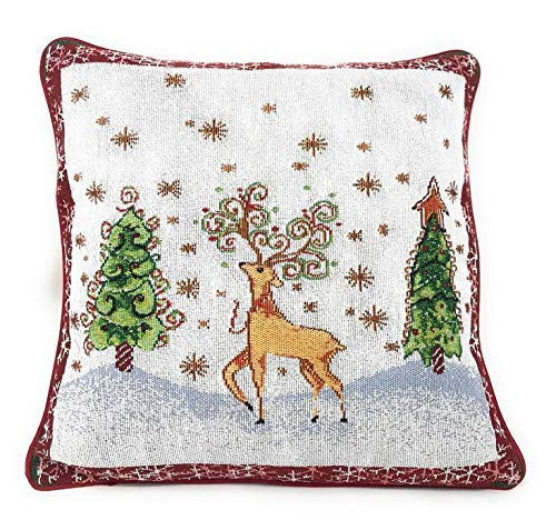 Reindeer Season - Tache Winter Forest Reindeer Antique Vintage Christmas Eve Snowflakes Holiday Season White Red Decorative Woven Tapestry Cushion Throw Pillow Cover, 16 x 16, 1 Piece