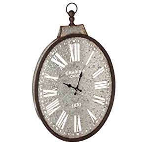 Cape Craftsmen Oval Pocket Watch Galvanized Metal Wall Clock