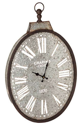 Cape Craftsmen Oval Pocket Watch Galvanized Metal Wall Clock 3